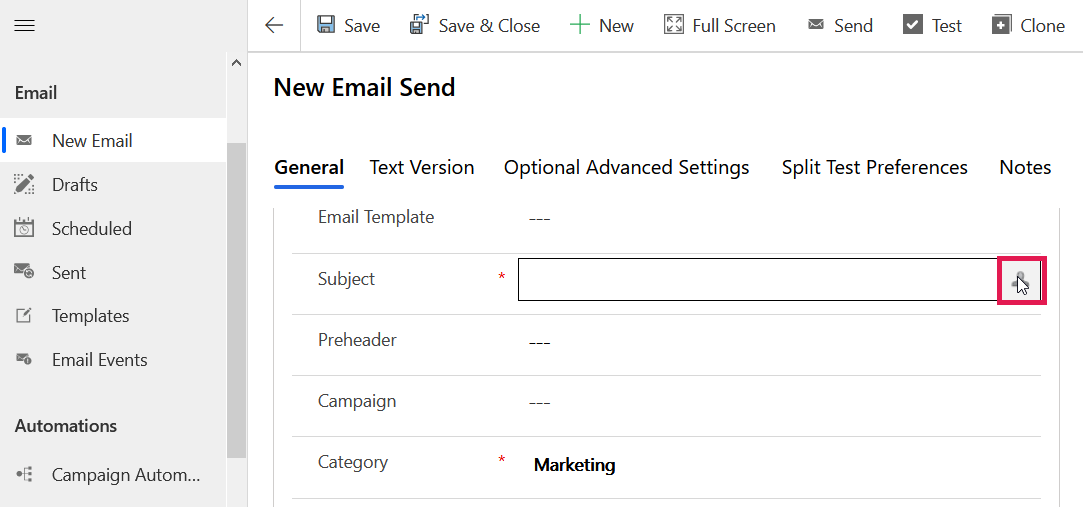 Personalise Email Subject Button