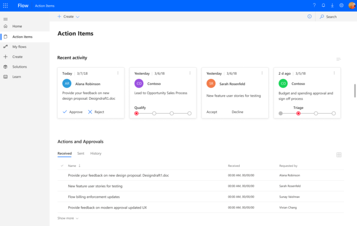 Microsoft Flow action items