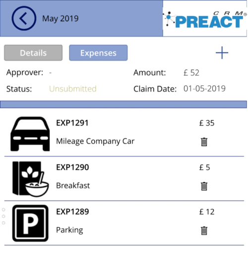 Ubsubmitted expenses claim within a PowerApp
