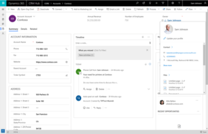 Office 365 Profile Card Dynamics Apps
