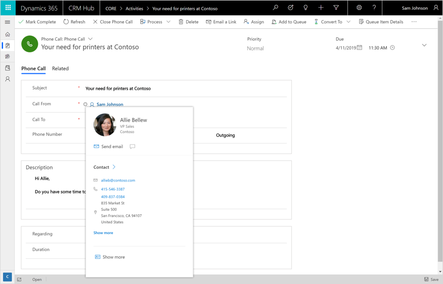 Profile card in Dynamics 365