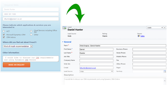 Using Scribe Integration to Import Web Enquiry Forms to