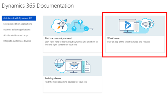 New Documentation for D365 Version 9