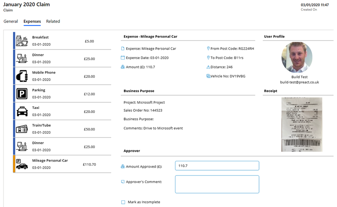 View expense claim overview including receipts for each expense item within Dynamics 365 model-driven app