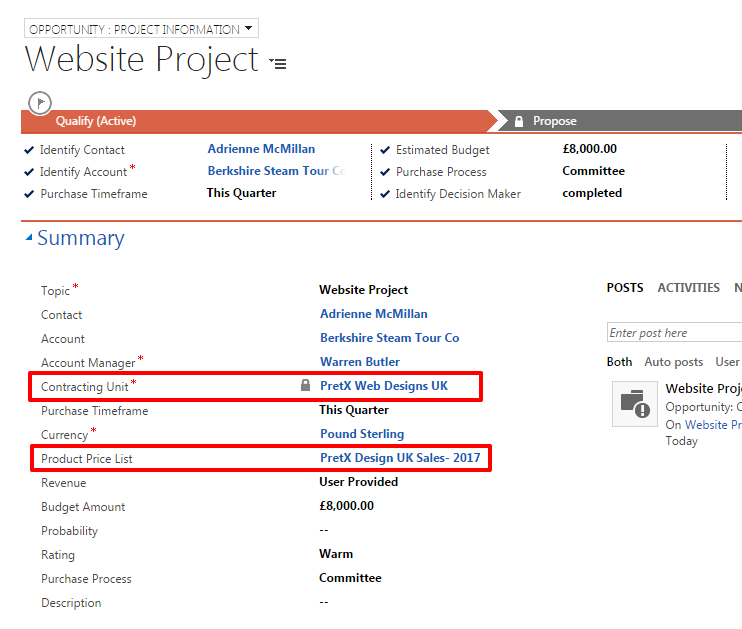 How to create quotes using dynamics crm project service each contracting unit might have its own price list and data for each unit would be reported separately in this example for simplicity ive used the maxwellsz