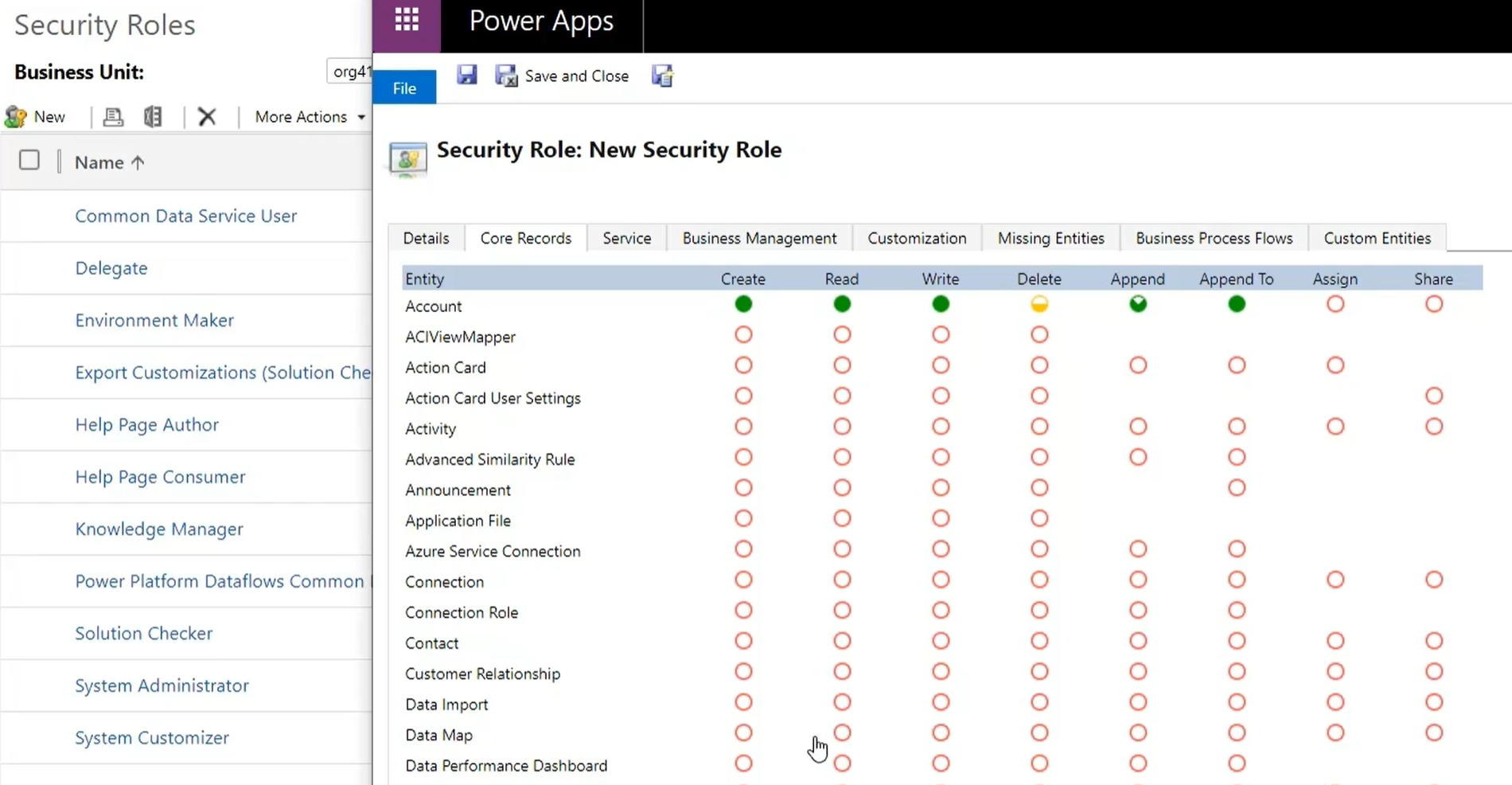 Power Apps Admin Center Security Roles