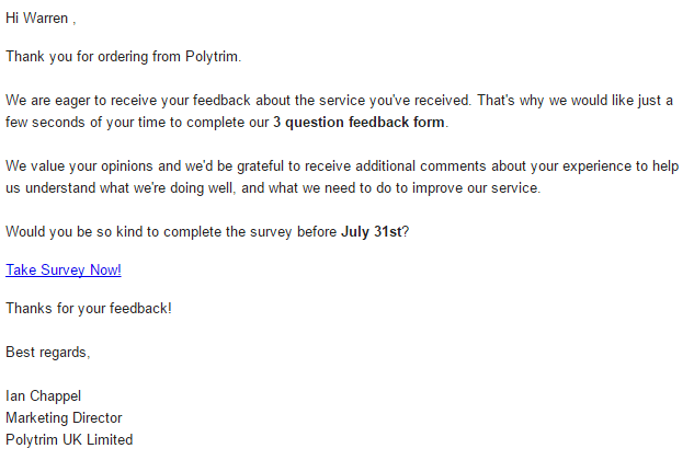 Test driving voice of the customer surveys in microsoft for Customer survey email template