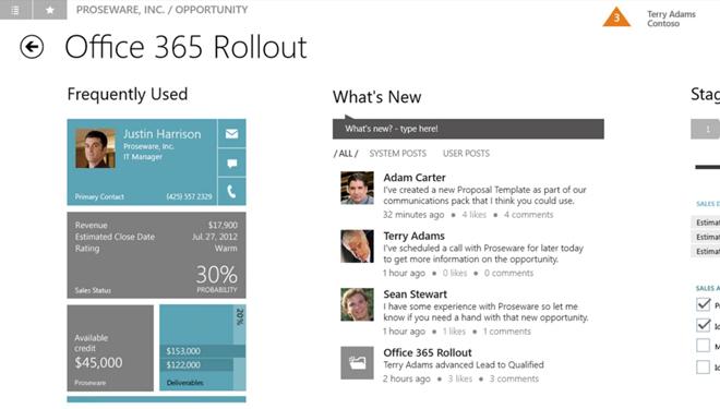 Microsoft Dynamics CRM Windows 8 Sales Opportunity Interface