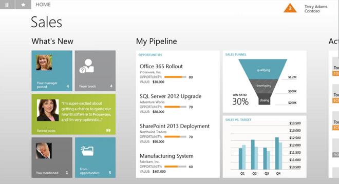 Microsoft Dynamics CRM Windows 8 Sales Team Interface