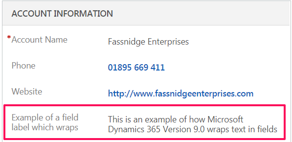 A Look At Dynamics 365 New Text Wrapping For Field Labels & Values